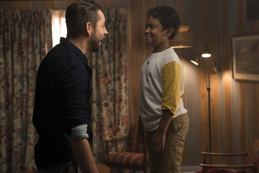 "HEROES REBORN -- ""June 13th - Part One"" Episode 107 -- Pictured: (l-r) Zachary Levi as Luke Collins, Richie Lawrence as Dennis Collins -- (Photo by: Christos Kalohoridis/NBC)"